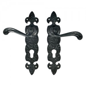 """Jaasiel"" Black Iron Door Handle with Plate"