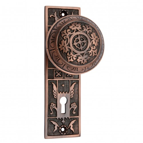 """Amittai"" Brass Door Knob with Plate"