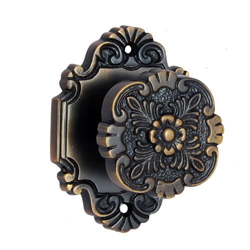 """Cephas"" Brass Door Knob with Rose"