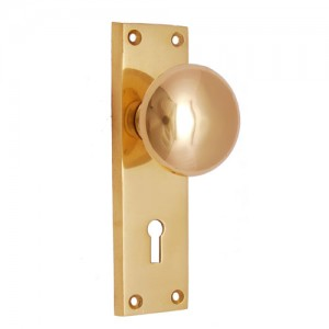"""Ephraim"" Brass Door Knob with Plate"