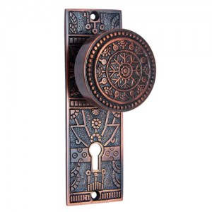"""Hezekiah"" Brass Door Knob with Plate"