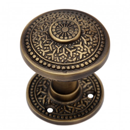 """Kabmiel"" Brass Door Knob with Rose"