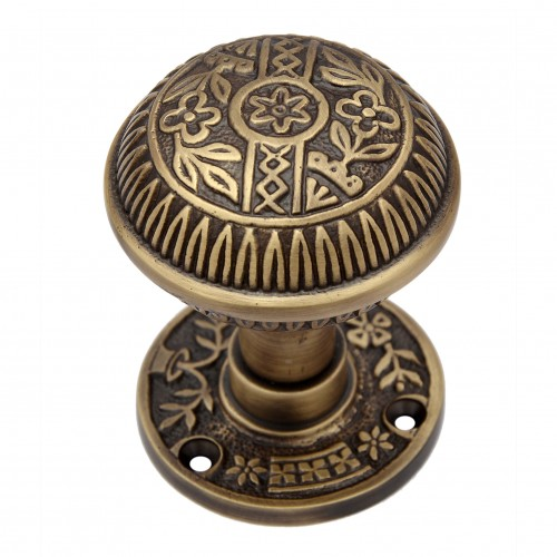 """Kitron"" Brass Door Knob with Rose"