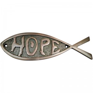 """Hope"" Brass Fish Door Sign"