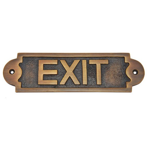 Exit Brass Door Sign