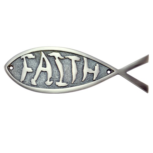 """Faith"" Brass Fish Door Sign"
