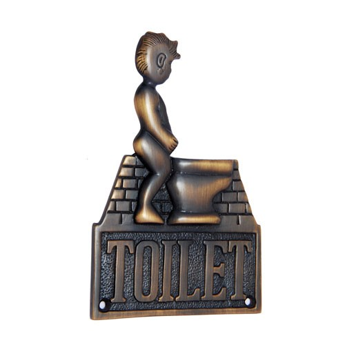 Large Gents Toilet Brass Door Sign