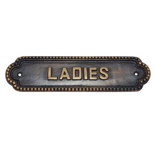 Large Ladies Brass Door Sign