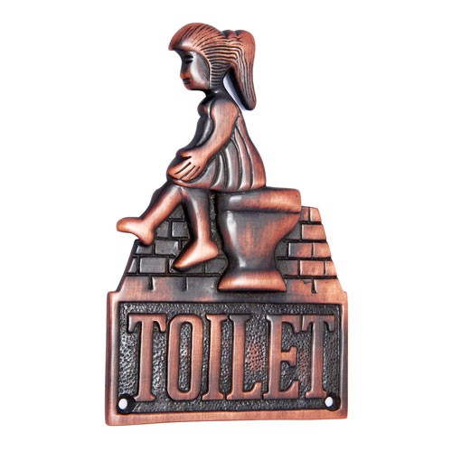 Large Ladies Toilet Brass Door Sign