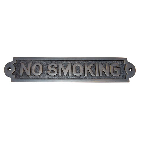 Large No Smoking Brass Door Sign