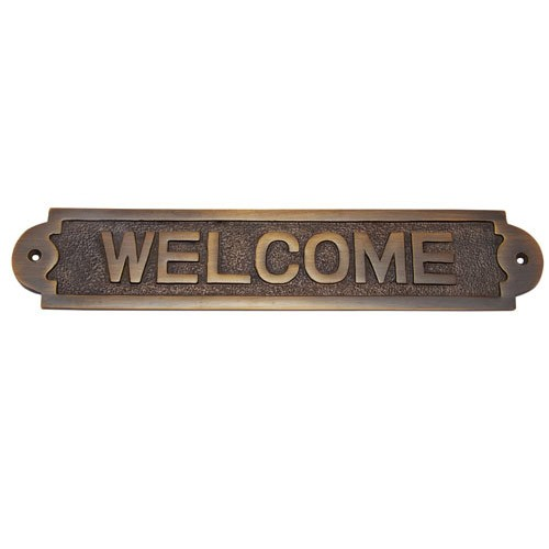 Large Welcome Brass Door Sign