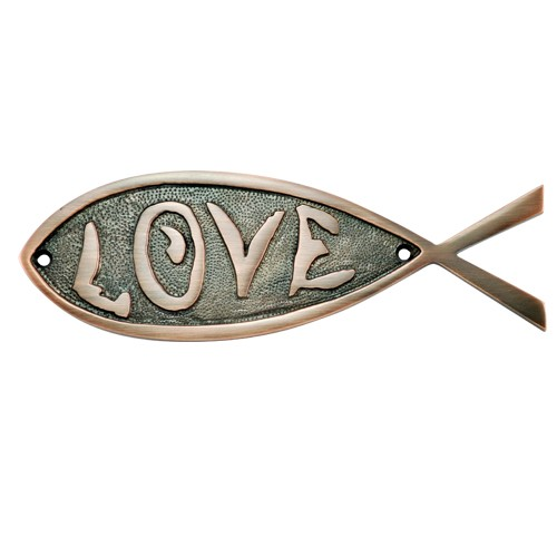 """Love"" Brass Fish Door Sign"