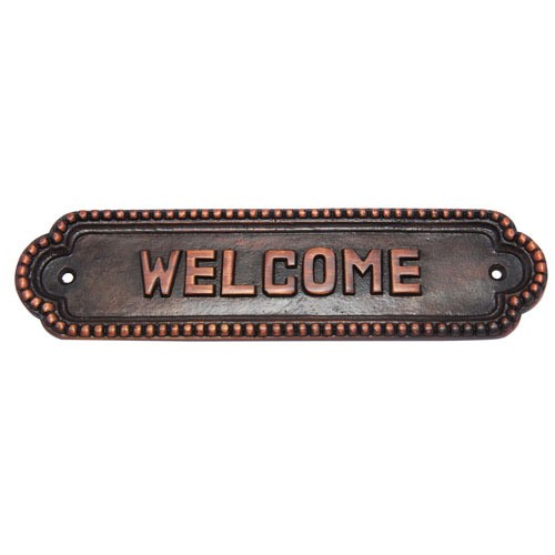 Medium Welcome Brass Door Sign