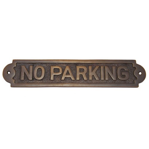 No Parking Brass Door Sign