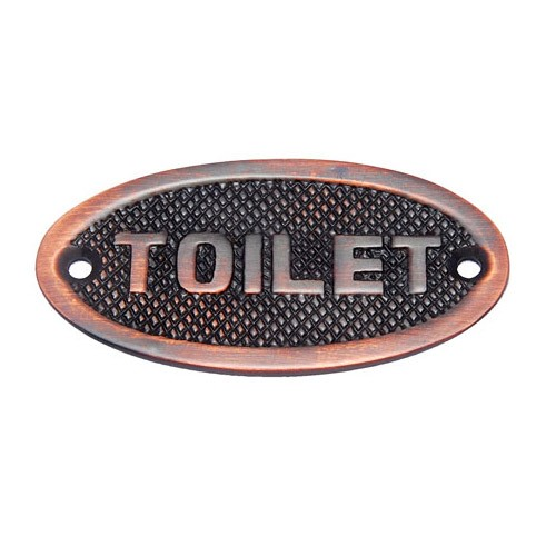 Oval Toilet Brass Door Sign