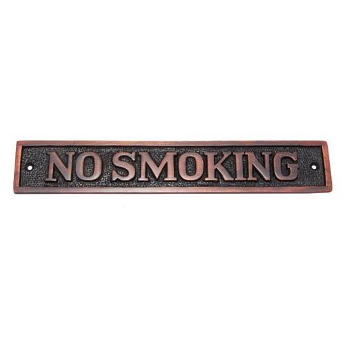 Rectangular No Smoking Brass Door Sign