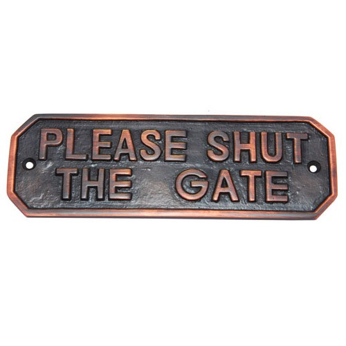 Rectangular Please Shut The Gate Brass Door Sign