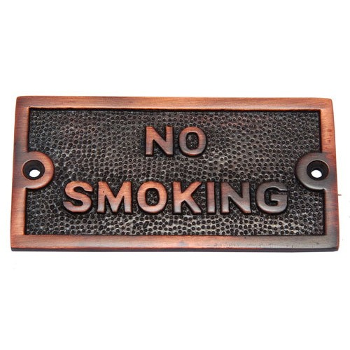 Small No Smoking Brass Door Sign