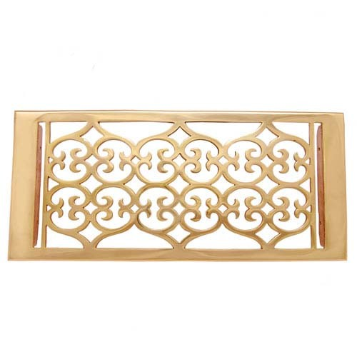 """Flower"" Brass Wall Register with Louver - 6"" x 12"" (7-1/2"" x 13-1/2"" Overall)"