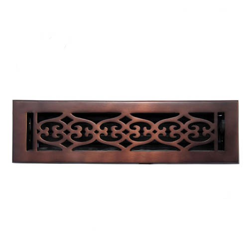 """Flower"" Bronze Wall Register with Louver - 2-1/4"" x 10"" (3-1/2"" x 11-3/8"" Overall)"