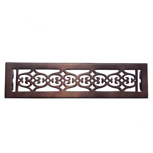 """Flower"" Bronze Wall Register with Louver - 2-1/4"" x 14"" (3-7/8"" x 15-1/4"" Overall)"