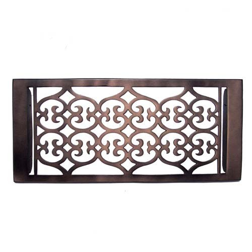 """Flower"" Bronze Wall Register with Louver - 6"" x 12"" (7-1/2"" x 13-1/2"" Overall)"