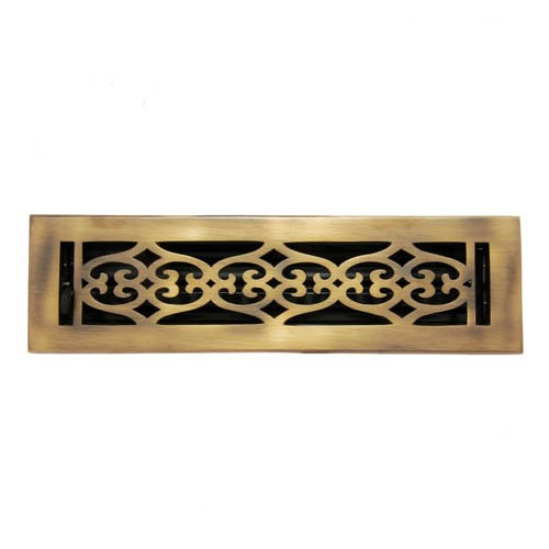 """Flower"" Brass Wall Register with Louver - 2-1/4"" x 10"" (3-1/2"" x 11-3/8"" Overall)"
