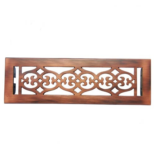 """Flower"" Brass Wall Register with Louver - 2-1/4"" x 12"" (3-7/8"" x 13-1/2"" Overall)"