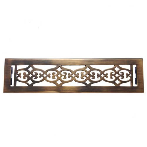 """Flower"" Brass Wall Register with Louver - 2-1/4"" x 14"" (3-7/8"" x 15-1/4"" Overall)"