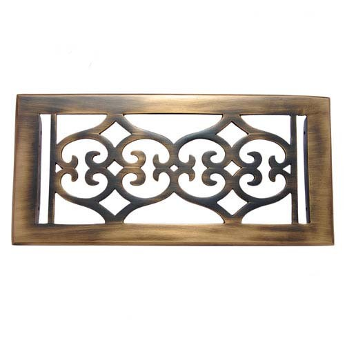 """Flower"" Brass Wall Register with Louver - 4"" x 10"" (5-5/8"" x 11-1/2"" Overall)"