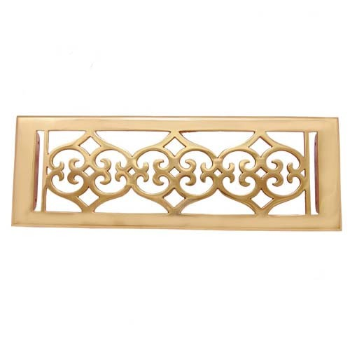 """Flower"" Brass Wall Register with Louver - 4"" x 12"" (5-1/2"" x 13-1/2"" Overall)"