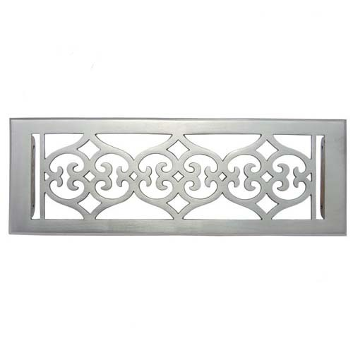 """Flower"" Brass Wall Register with Louver - 4"" x 14"" (5-1/2"" x 15-5/8"" Overall)"