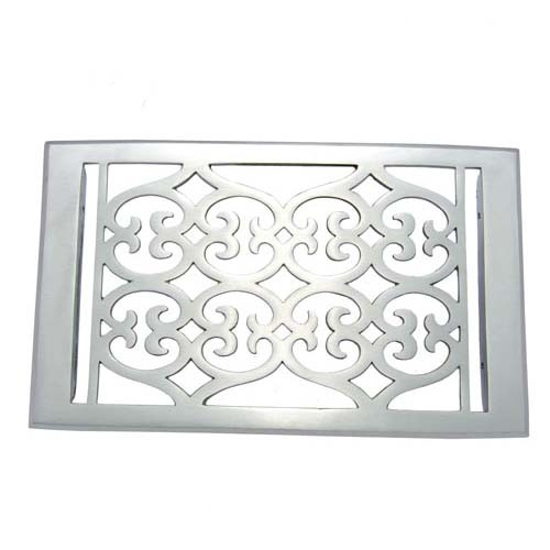 """Flower"" Brass Wall Register with Louver - 6"" x 10"" (7-1/4"" x 11-1/2"" Overall)"