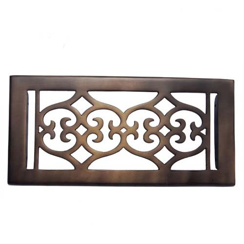 """Flower"" Bronze Wall Register with Louver - 4"" x 10"" (5-5/8"" x 11-1/2"" Overall)"
