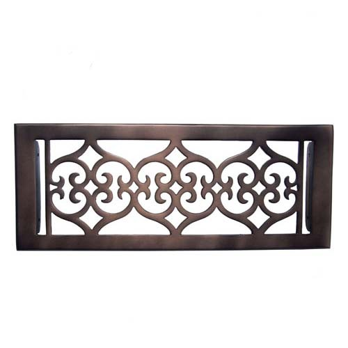 """Flower"" Bronze Wall Register with Louver - 4"" x 12"" (5-1/2"" x 13-1/2"" Overall)"
