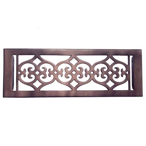 """Flower"" Bronze Wall Register with Louver - 4"" x 14"" (5-1/2"" x 15-5/8"" Overall)"