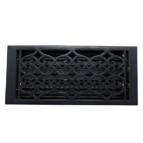 """Flower"" Iron Wall Register with Louver - 6"" x 14"" (7-1/8"" x 15-3/4"" Overall)"
