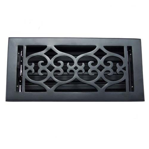 """Flower"" Iron Wall Register with Louver - 4"" x 10"" (5-5/8"" x 11-1/2"" Overall)"