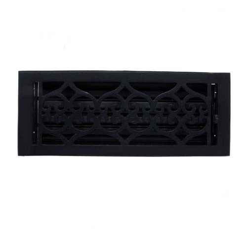 """Flower"" Iron Wall Register with Louver - 4"" x 12"" (5-1/2"" x 13-1/2"" Overall)"
