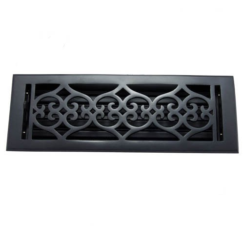"""Flower"" Iron Wall Register with Louver - 4"" x 14"" (5-1/2"" x 15-5/8"" Overall)"