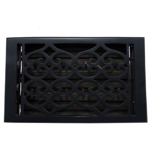 """Flower"" Iron Wall Register with Louver - 6"" x 10"" (7-1/4"" x 11-1/2"" Overall)"