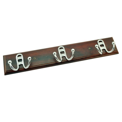 "3"" Iron Hooks on Brown Colour Wood"