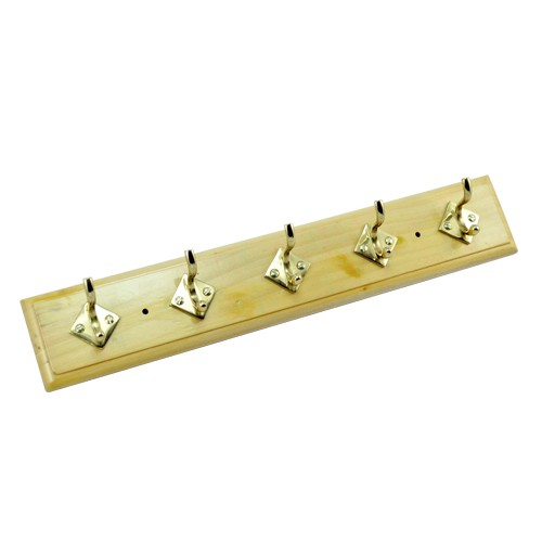 5 Brass Hooks on Natural Colour Wood