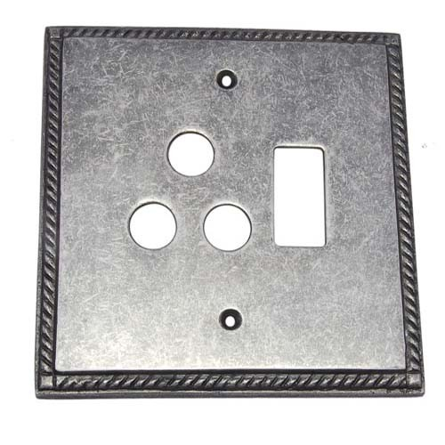 1 Small Decora & 1 Triplex Brass Georgian Switch Plate