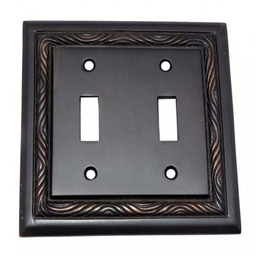 2 Toggle Rope Brass Switch Plate