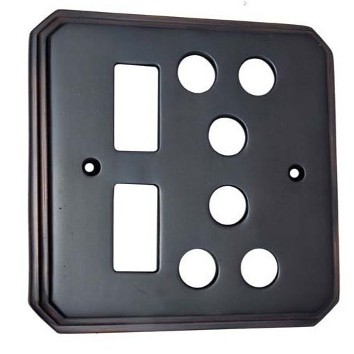 2 Small Decora & 2 Triplex Border Brass Switch Plate