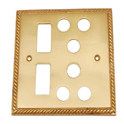2 Small Decora & 2 Triplex Georgian Brass Switch Plate