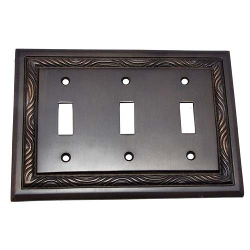 3 Toggle Rope Brass Switch Plate