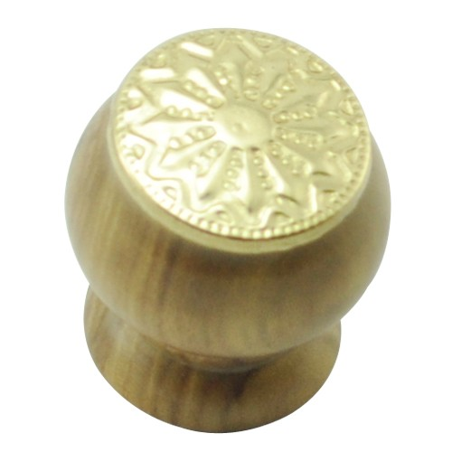 26mm Mushroom Wooden Cabinet Knob with Polish Lacquered Coin