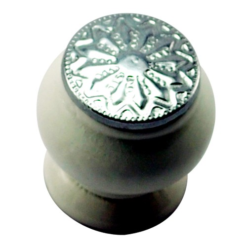 26mm Mushroom Wooden Cabinet Knob with Polished Chrome Coin